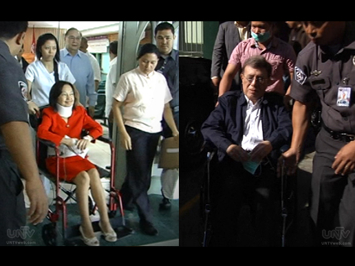 FILE PHOTOS: Former President Gloria Macapagal Arroyo and Former PCSO Chairman Manoling Morato on wheelchairs. (UNTV News)