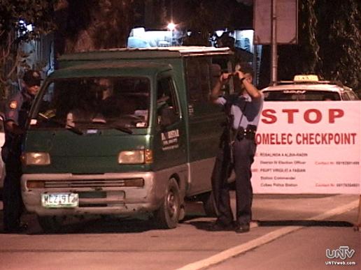 Isa sa mga COMELEC Checkpoint na tinatauhan ng mga PNP personnel. (UNTV News)