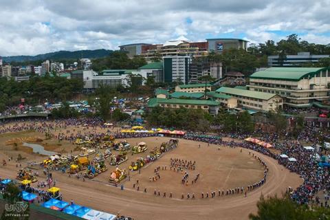 AERIAL SHOT: Ang taunang pagdiriwang sa Baguio City na tinaguriang Panagbenga Festival na dinadayo ng mga turistang lokal at banyaga. (PHOTOVILLE International / Jun Rafanan)