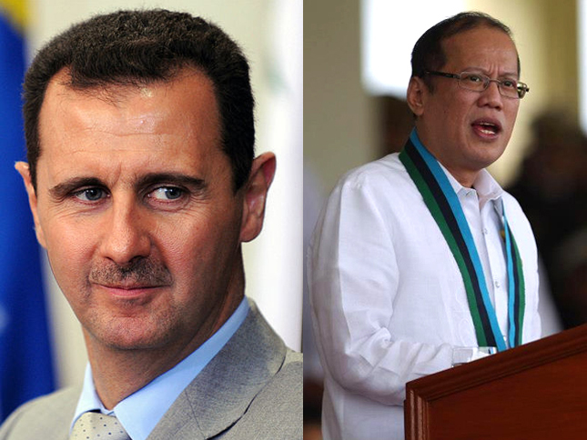 FILE PHOTOS: (Left) The president of the Syrian Arab Republic, Bashar Al-Assad. Photo courtesy of Fabio Rodrigues Pozzebom / ABr via Wikipedia. (Right) President Benigno S. Aquino III. Photo courtesy of  Malacañang Photo Bureau.