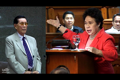 FILE PHOTO: Sen. Juan Ponce Enrile and Sen. Miriam Defensor Santiago (UNTV News)