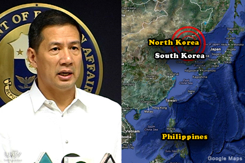 FILE PHOTO: Department of Foreign Affairs Spokesperson Raul Hernandez and Korean Peninsula by Google Maps. (UNTV News)