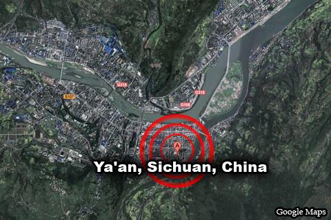 Google Maps: Ya'an, Sichuan, China