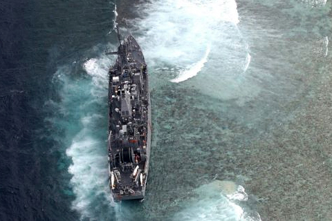 Armed Forces of the Philippines Western Command Handout Photo: USS Guardian grounded at Tubbataha Reef (FILE PHOTO)