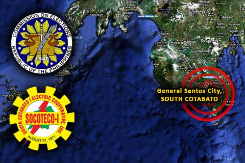 Google Maps: General Santos City, South Cotabato; COMELEC and SOCOTECO Logo by Google