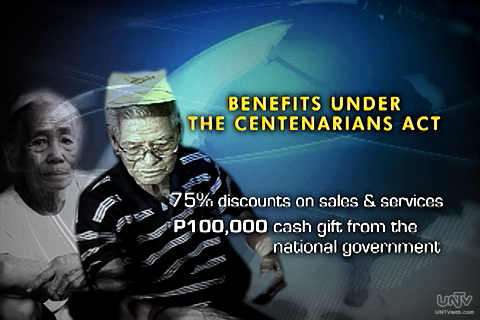 GRAPHICS: Ang mga benipisyo matatanggap sana ng mga matatandang umeedad ng 100 taon pataas sa ilalim ng Centenarians Act. (UNTV News)