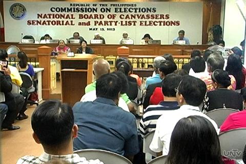 Ang COMELEC National Board of Canvassers sa proclamation ng mga natitira pang mga partylists nitong Martes. (UNTV News)