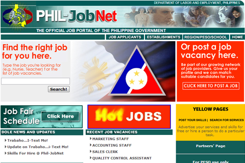 Ang website ma makikitaan ng 130,000 na job vacancies. http://phil-job.net/