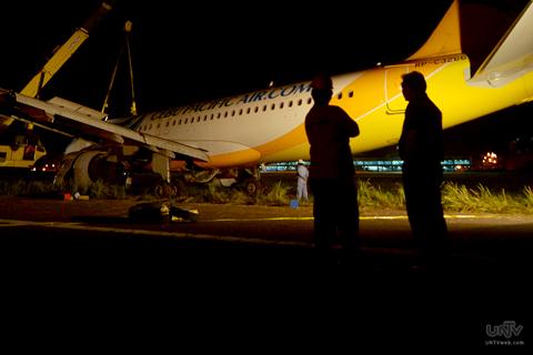 FILE PHOTO: Ang sumadsad na Cebu Pacific Flight 5J971 sa Davao International Airport. (RITCHIE TONGO / Photoville International)