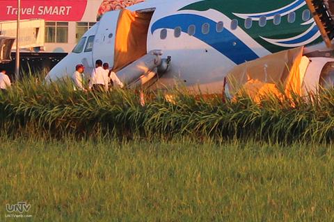 FILE PHOTO: Ang unahang bahagi ng Cebu Pacific Flight 5J971 sa Davao International Airport noong hindi pa ito naiaalis sa runway mula sa pagkakasubsob. (BOM DY / Photoville International)