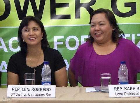 (Left-Right) Camarines Sur 3rd Representative Leni Robredo; Representative Kaka Bag-ao ng Dinagat Island (UNTV News)