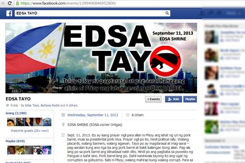 page sa Facebook na nilikha para sa EDSA Tayo itinakdang gaganapin sa