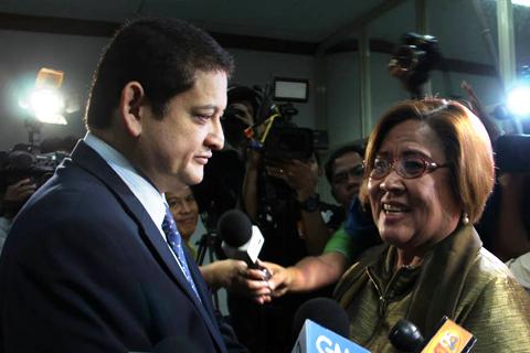 (Left) Senate Blue Ribbon Committee Chairman Teofisto 'TG' Guingona III; (right) Department of Justice Secretary Leila De Lima (CREDITS: Official Facebook Fan Page of Senator TG Guingona)