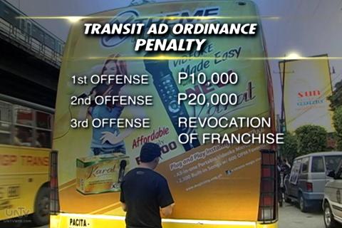 Ang mga penalty sa paglabag sa bagong patuparing ordinansa ng LTFRB tungkol sa tamang paglalagay ng mga ads sa mga pampublikong sasakyan. (UNTV News)