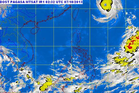MTSAT ENHANCED-IR Satellite Image  10:32 a.m., 07 October 2013 (PAGASA.DOST.GOV.PH)