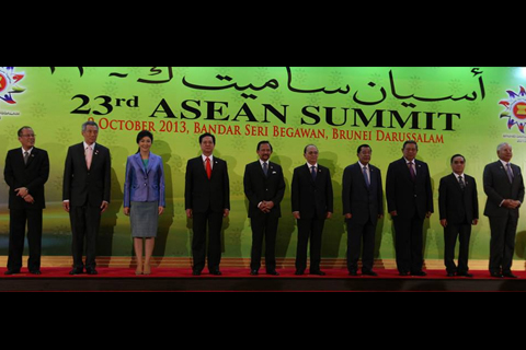 "BRUNEI DARUSSALAM – Philippine President Benigno S. Aquino III poses for the traditional group photo opportunity with his counterparts in Association of Southeast Asian Nations (ASEAN), namely, Republic of Singapore Prime Minister Lee Hsien Loong, Kingdom of Thailand Prime Minister Yingluck Shinawatra, Socialist Republic of Vietnam Prime Minister Nguyen Tan Dung, Brunei Darussalam His Majesty Sultan Haji Hassanal Bolkiah Mu'zzaddin Waddaulah, Republic of the Union of Myanmar President Thein Sein, Kingdom of Cambodia Prime Minister Samdech Akka Moha Sena Padei Techno Hun Sen, Republic of Indonesia President Susilo Bambang Yudhoyono, Lao People's Democratic Republic Prime Minister Thongsing Thammavong and Malaysia Prime Minister The Honourable Dato' Sri Mohd Najib bin Tun Abdul Razak, following the Plenary Session of the of the 23rd ASEAN Summit and Related Summits at the Main Lobby, Brunei International Convention Center in Bandar Seri Begawan, Brunei Darussalam on Wednesday (October 09, 2013). With theme: ""Our People, Our Future Together"", the Summit will discuss ways to consolidate these gains to meet the 2015 target of having an economically integrated, politically cohesive and socially responsible ASEAN Community and to ensure ASEAN's place in the global community of nations by 2015 and beyond. (PLDT powered by SMART) (Photo by Ryan Lim / Malacañang Photo Bureau)."