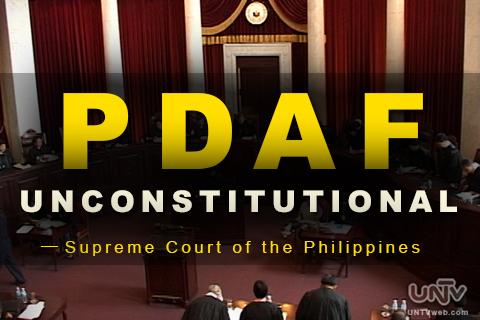 Sa botong 14-0-1, idineklara ng Kataastaasang Hukuman ng Pilipinas na unconstitutional ang PDAF o Priority Development Assistance Fund na mas kilala bilang 'Pork Barrel'. (UNTV News)