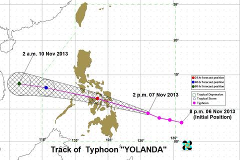 Ang tinatayang pagtahak ng bagyong Yolanda na patungo sa direksyon ng Central Visayas kaya naman may mga  pamilya na sa Catbalogan City, Samar ang nagkusang pumunta na sa relocation site na itinalaga ng lokal na pamahalaan. (PAGASA-DOST)