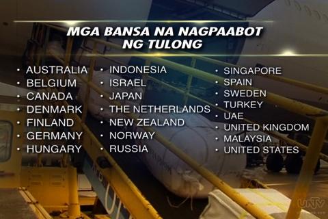 Ang mga bansang nagpaabot ng tulong sa Pilipinas kaugnay sa pananalasa ng Bagyong Yolanda. (UNTV News)