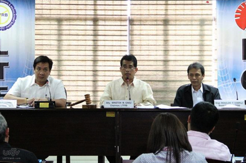 Atty. Winston Ginez Chairman LTFRB (middle), Atty. Roberto Cabrera III executive Director, OIC - Board member (left), Engr. Ronaldo Corpuz LTFRB Board member (right) PHOTO: Willie Sy / Photoville International