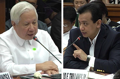 (Left) MERALCO President  Oscar Reyes (Right) Senator Antonio Trillanes IV (UNTV News)