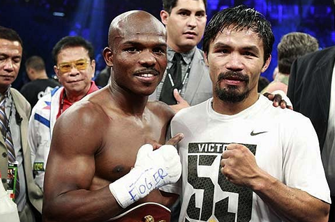 FILE PHOTO: Timothy Bradley and Manny Pacquiao after their first match (REUTERS)