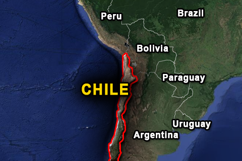 Google Maps: Chile and the South American countries nearby