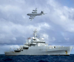 A Royal Australian Air Force (RAAF) AP-3C Orion aircraft flies past the British naval ship HMS Echo in the southern Indian Ocean as they continue to search for the missing Malaysia Airlines flight MH370 in this handout picture released by the Australian Defence Force April 15, 2014.  REUTERS/Australian Defence Force/Handout via Reuters
