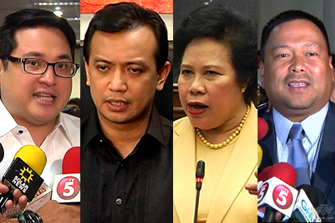 (Left-Right) Senators Bam Aquino, Antonio Trillanes IV, Miriam Santiago, JV Ejercito (UNTV News)