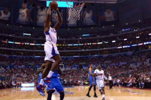 May 11, 2014; Los Angeles, CA, USA; Los Angeles Clippers center DeAndre Jordan (6) dunks the ball against the Oklahoma City Thunder in game four of the second round of the 2014 NBA Playoffs at Staples Center. Kirby Lee-USA TODAY Sports