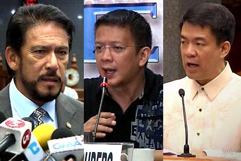 FILE PHOTOS: (L-R) Sen. Tito Sotto, Sen. Chiz Escudero, Sen. Koko Pimentel (UNTV News)