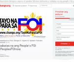 Ang webpage sa www.change.org kung saan maaring puntahan ng ating mga kababayan upang    ipakita ang pagsuporta sa pagsasabatas ng FOI Bill. (Change.org)
