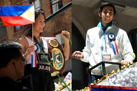 (Left-Right) WBO LightLight Featherweight Champion Ana Julaton; Olympic Figure Skater Michael Christian Martinez,  (AARON ROMERO / Photoville International)
