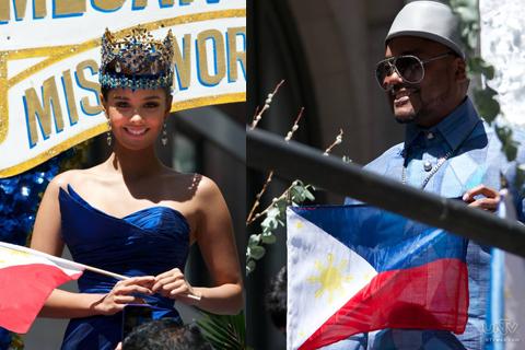 (Left-Right) Miss World 2013 Meagan Young; Black Eye Peas member Apl.D.Ap o Allan Pineda. (AARON ROMERO / Photoville International)