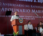 President Benigno S. Aquino III speaking during the commemoration of the 150th birth anniversary of Apolinario Mabini in Tanauan, Batangas.   (Photo by the Malacañang Photo Bureau)