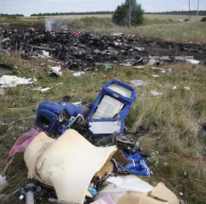 Parts of the wreckage are seen at a crash site of Malaysia Airlines Flight MH17 near the village of Hrabove (Grabovo), Donetsk region July 21, 2014.  CREDIT: REUTERS/MAXIM ZMEYEV
