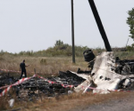 A Malaysian air crash investigator works at a crash site of the Malaysia Airlines Flight MH17 near the village of Hrabove (Grabovo), Donetsk region July 24, 2014. CREDIT: REUTERS/MAXIM ZMEYEV