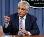 U.S. Secretary of Defense Chuck Hagel speaks during a press briefing at the Pentagon in Washington, August 21, 2014. CREDIT: REUTERS/YURI GRIPAS