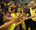 FILE PHOTO: President Benigno S. Aquino III shakes hands with the residents of Dipolog City during his visit at the Andres Bonifacio College (ABC) Gymnasium in Barangay Miputak, Dipolog City, Zamboanga del Norte on Tuesday (February 05). ( Jay Morales / Malacañang Photo Bureau)