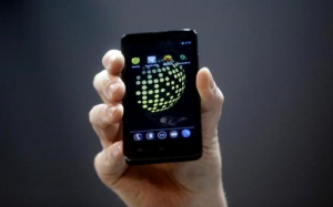 The Blackphone, an Android software-based mobile which encrypts texts, voice calls and video chats, is displayed after being launched during the Mobile World Congress in Barcelona February 24, 2014. CREDIT: REUTERS/ALBERT GEA