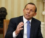 Australian Prime Minister Tony Abbott speaks in the Oval Office of the White House in Washington June 12, 2014. CREDIT: REUTERS/LARRY DOWNING