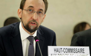 Newly appointed U.N. High Commissioner for Human Rights, Jordan's Prince Zeid Ra'ad Zeid al-Hussein speaks at the Human Rights Council at the United Nations Europeans headquarters in Geneva September 8, 2014. CREDIT: REUTERS/PIERRE ALBOUY
