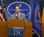 Centers for Disease Control and Prevention (CDC) Director, Dr. Thomas Frieden, speaks at the CDC headquarters in Atlanta, Georgia September 30, 2014. CREDIT: REUTERS/TAMI CHAPPELL