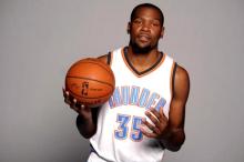Sep 29, 2014; Oklahoma City, OK, USA; Oklahoma City Thunder forward Kevin Durant (35) poses during media day at Chesapeake Energy Arena. Mandatory Credit: Mark D. Smith-USA TODAY Sports
