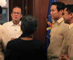 FILE PHOTO: President Benigno S. Aquino III greets GMR Group of Companies chairman Mr. G. M. Rao during the courtesy call at the Music Room of the Malacañan Palace on Thursday (October 23). (Photo by Benhur Arcayan / Malacañang Photo Bureau)