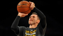 October 19, 2014; Los Angeles, CA, USA; Los Angeles Lakers guard Steve Nash (10) practices before the Lakers play against the Utah Jazz at Staples Center. Mandatory Credit: Gary A. Vasquez-USA TODAY Sports