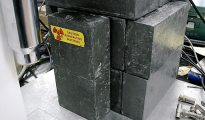 Lead bricks being used to shield a radioactive sample (Cs-137). Taken by L. Chang, 3-17-2004. (WIKIPEDIA)