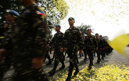 FILE PHOTO: Ang heroe's welcome noong October 01, 2014 para sa mga UN Filipino Peacekeepers na mula sa ilang buwang pagdestino sa Golan Heights. (PHOTOVILLE  International)