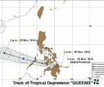 forecasted track of TD Queenie from PAGASA