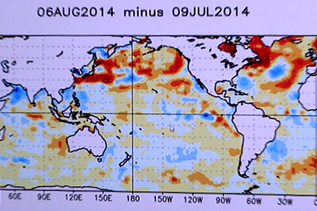 PAGASA-DOST Map: Change in Weekly SST Anoms (Degrees Celcius) 06Aug2014 minue 08Jul2014